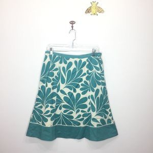 Boden turquoise floral a-line cotton skirt 8 0061
